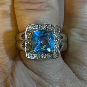 14k solid white gold blue topaz and diamond ring!